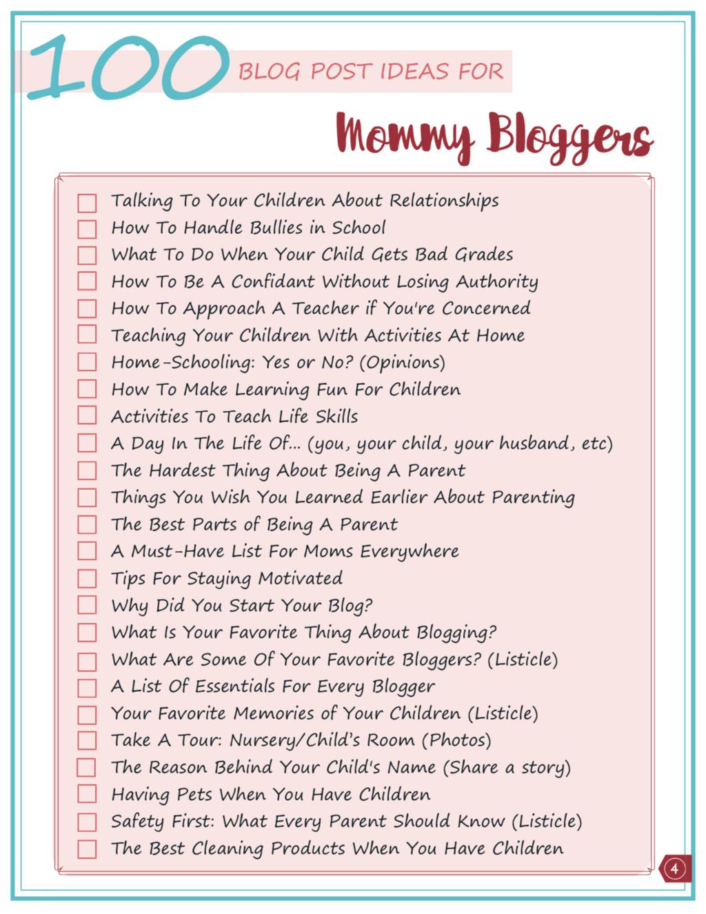 Printable checklist of 100 mom blog ideas to inspire you!