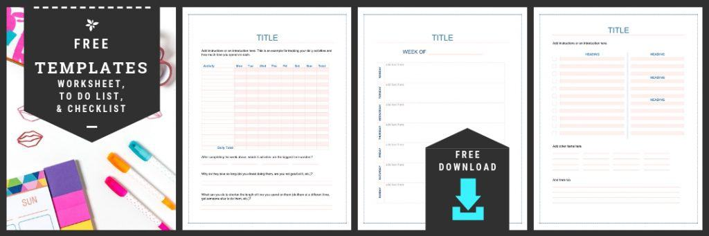 free worksheet, checklist and to do list templates