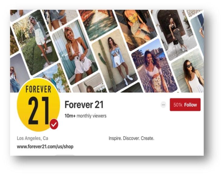 Forever 21 Business Pinterest Page
