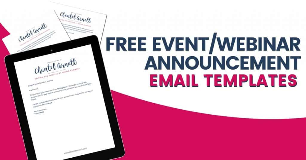 FREE EVENT WEBINAR ANNOUNCEMENT EMAIL TEMPLATES
